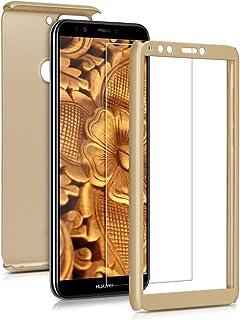 kwmobile fodral kompatibelt med Huawei Y7 (2018)/Y7 Prime (2018) – skyddande helkroppsfodral med skärmskydd – metalliskt r...