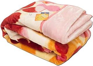 【1億円売れた毛布】東京西川 毛布 シングル 2枚合わせ 洗える リーフ柄 ピンク マイヤー毛布 衿付き 冬 春 あったか 約1.8kg かわいい おしゃれ ブランケット 140×200cm
