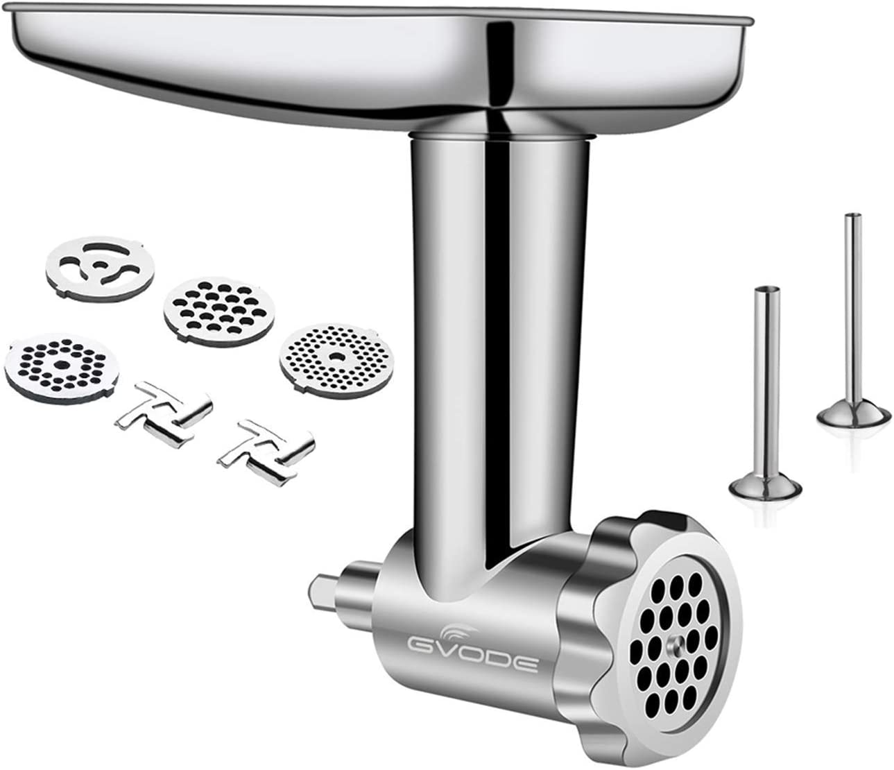 Stainless Steel Food Grinder Attachment fit KitchenAid Stand Mixers Including Sausage Stuffer,...