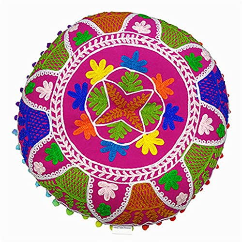 gujiu Cojín de Piso 16 Pulgadas Patchwork Sala de Estar Pouffe Staques Home Decor Bordado Vintage algodón Piso Redondo Almohada (Color : 2)