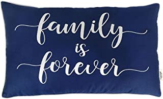 Vargottam Cotton Embroidered Family is Forever Lumbar Farmhouse Throw Pillow Cover Quote Cushion Covers 12x20 Inches House...