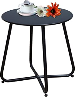 Grand patio Steel Patio Coffee Table, Weather Resistant Outdoor Side Table, Small Round End Table, Black
