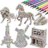 3D Coloring Puzzle Set,4 Animals Puzzles with 12 Pen Markers, Art Coloring Painting 3D Puzzle for Kids Age 7 8 9 10 11 12. Fun Creative DIY Toys Gift for Girls and Boy (Toy, 6PACK)