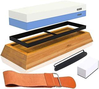 Knife Sharpening Stone Kit,Professional Whetstone Sharpener Stone Set, Premium 2 Side Grit 1000/6000 Water Stone, Non-slip...