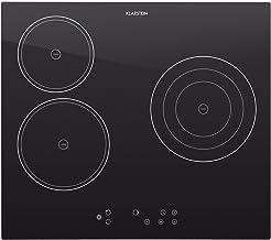 Klarstein Virtuosa Cocina encastrable de vitrocerámica (5300W Potencia, 59x52 cm, 3 Placas cerámica, Regulable 9 Niveles, Apagado automático, Temporizador, Material de Montaje)