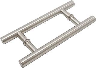 Tirador para puerta de granero de acero inoxidable 304 de doble cara de cristal con asas negras para agujeros grandes de 185 mm (7-3/10 pulgadas) de herrajes adecuados para puertas de madera