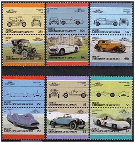 Auto 100 Automobiles Serie 5 6 auto d'epoca paia bollo automobilistico/Bequia Grenadines di St. Vincent / 1986 / MNH