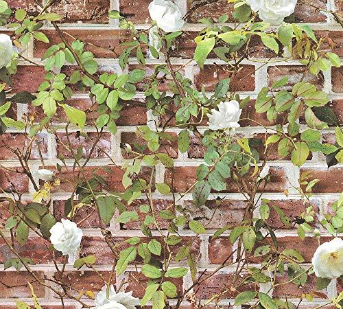 A.S. Création Papiertapete Authentic Walls 2 Tapete in Vintage Backstein Optik mit Efeu Fotorealistisch 10, 05 M x 0, 53 M Rot Grün weiß Hergestellt in Deutschland 365721 36572-1