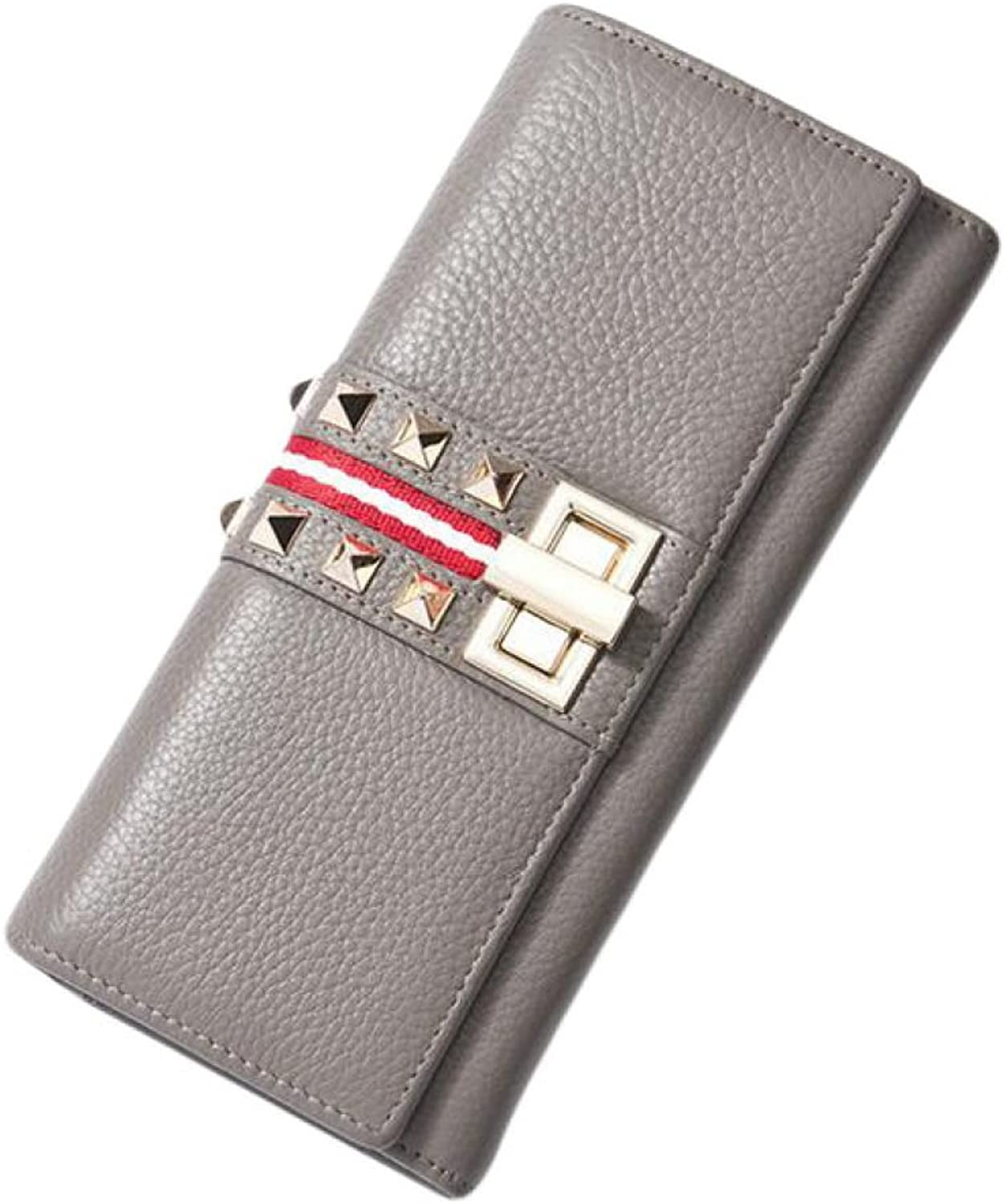 Fashion Personality Wallet Ladies Long Paragraph Lock Rivet Handbag Bag,GreyOneSize