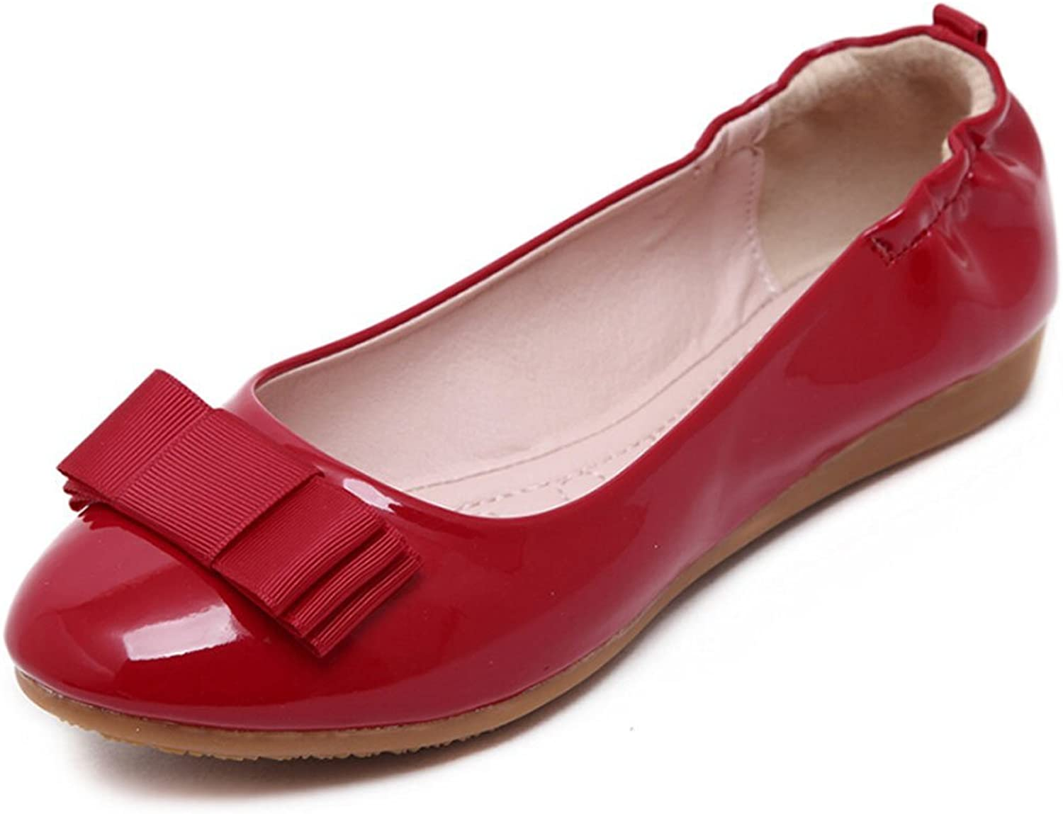 Angelliu Women Sweet Bowknot Leather Foldable Ballet shoes Loafer Flats Red