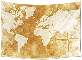 daawqee Brown Tapestry Wall Hanging Old Fashioned World Map Design with Compass in Retro Distressed Colors Continents Earth Bedroom Living Room Dorm Cream Tan Unique Home Decor