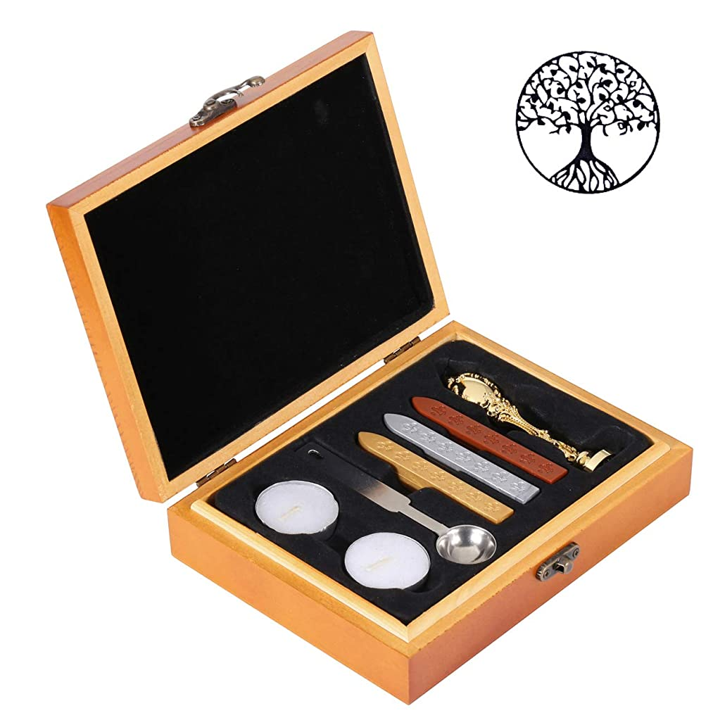 Tree of Life Seal Wax Stamp Kit, Yoption Classic Vintage Golden Color Wax Seal Sealing Stamp Set with Wooden Gift Box (Tree of Life)