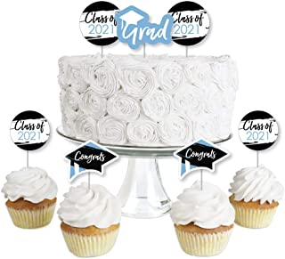 Big Dot of Happiness Light Blue Grad - Best is Yet to Come - Dessert Cupcake Toppers - Light Blue 2021 Graduation Party Cl...