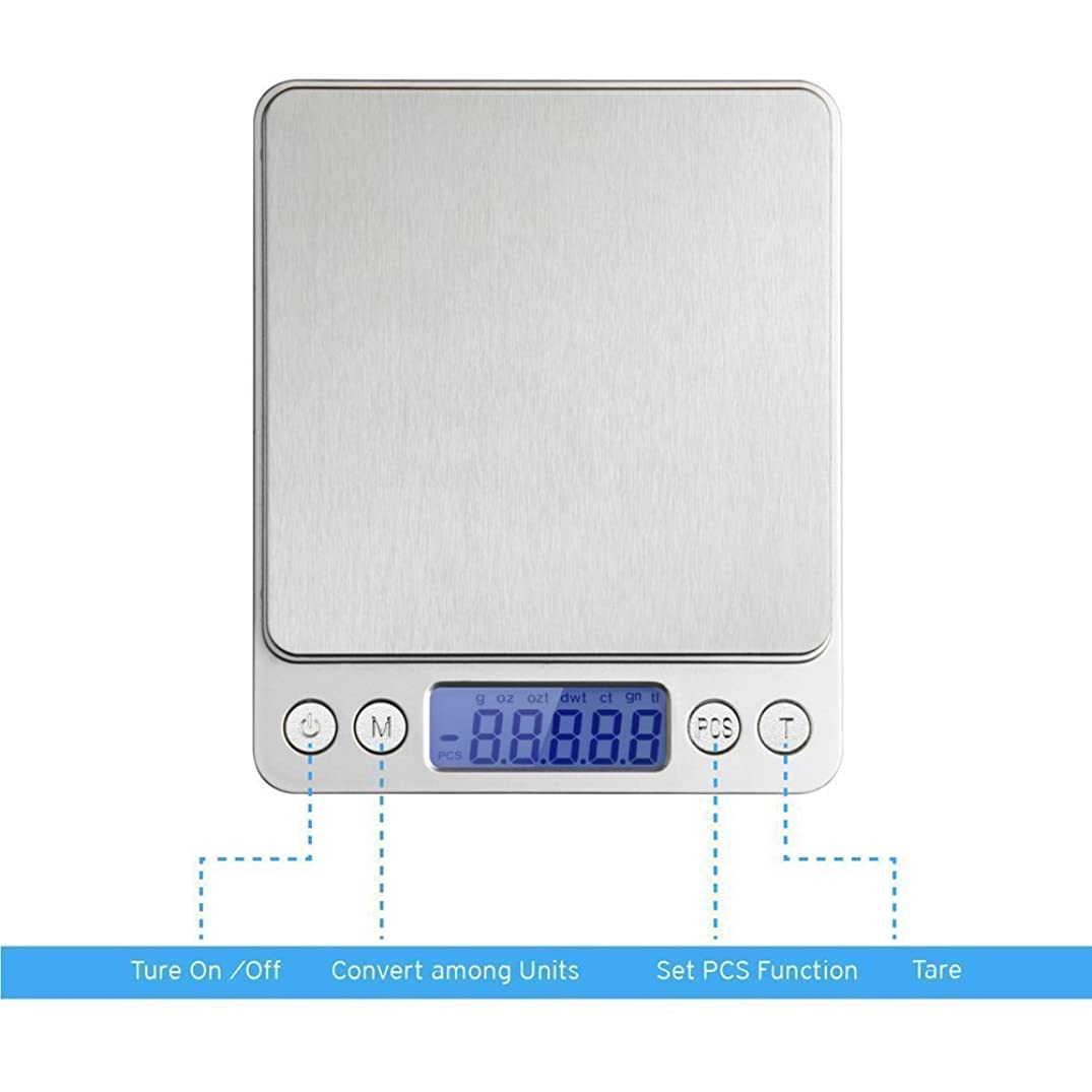 Multifunction Digital LCD Screen Pocket Scales,with Large Plastic Platform and Blue Backlit Display,6 Weighing Units,Tare Function Supplied (0.01g to 3000g)