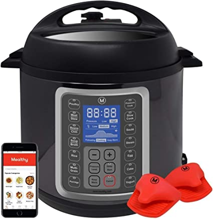 Mealthy MultiPot 9-in-1 Programmable Pressure Cooker with Stainless Steel Pot, Steamer Basket, instant access to recipe App. Pressure Cook, Slow Cook, Sauté, Egg, Rice Cooker, Yogurt, Steamer, (6 Quart)