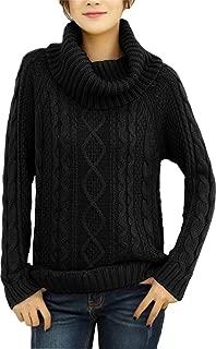 v28 Women's Korean Design Turtle Cowl Neck Ribbed Cable Knit Long Sweater Jumper