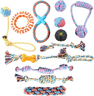 Allmart AD082805 Dog Rope Toys for Aggressive Chewers - Set of 12 Nearly Indestructible Dog Toys - Bonus Giraffe Rope Toy...