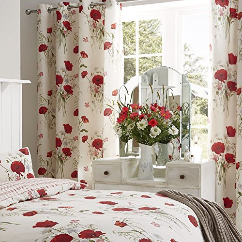 Catherine Lansfield Wild Poppies Easy Care Eyelet Curtains Multi, 66x72 Inch
