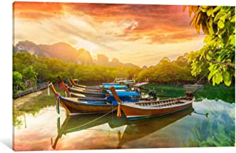 Exotic Boats in River Wall Art Canvas Print by CanvasBy 50x33cm/3.5cm Deep