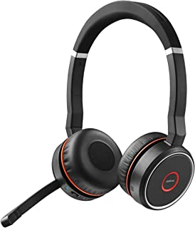 Jabra Evolve 75 MS Wireless Stereo On-Ear Headset, Microsoft Teams Certified Headphones with Long-Lasting Battery, USB Bluetooth Adapter, Black