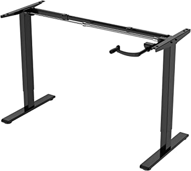 E.For.U® Q3 marco de mesa ajustable con manivela de escritorio ajustable en altura (manual, negro)
