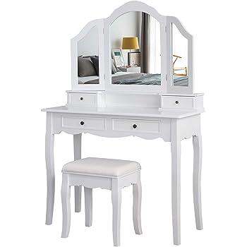Meerveil Coiffeuse avec Tabouret-Blanche-Mirroir-Bois-Femme Table de Maquillage en MDF avec 4 Tiroirs et 3 Miroirs Tournable, Pieds Stable, pour Femme