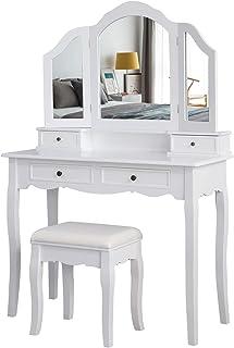 Meerveil Coiffeuse avec Tabouret-Blanche-Mirroir-Bois-Femme Table de Maquillage en MDF avec 4 Tiroirs et 3 Miroirs Tournab...