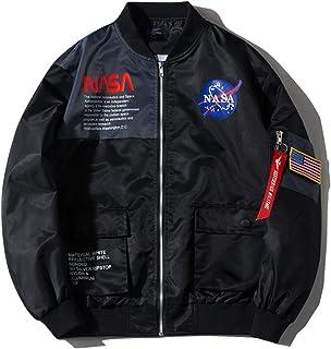 Wildswan Men Biker Bomber Jacket, NASA MA-1 Military Flight Jacket Light Air Force Moto Street Coat Winter B4051