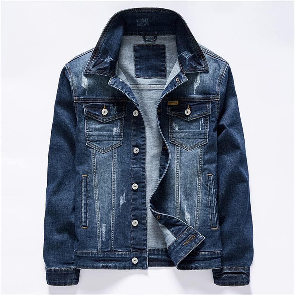 JJZXC Men's Vintage Blue Denim Jacket Spring San Diego Same day shipping Mall Autumn And Stretch
