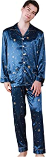 YAOMEI Mens Pyjamas Set Satin Long, 2021 Mens Silky Long Sleeves Nighties Couples PJ Set Sleepwear Nightwear, Lingerie But...