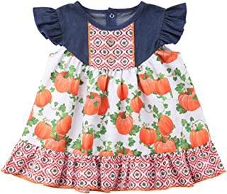VISGOGO Newborn Kids Baby Girls Dress Halloween Pumpkin Print Party Pageant Dresse