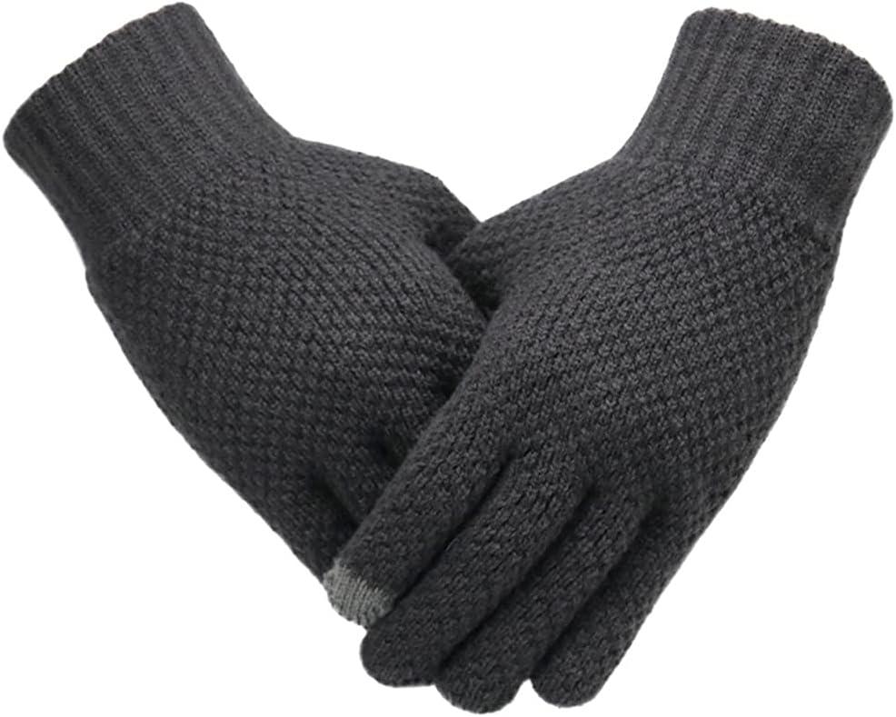 WBDL Winter Men Knitted Gloves Touch Screen Male Mitten Thicken Warm Solid Men Business Gloves Autumn