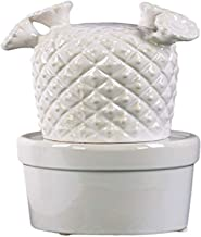 """Urban Trends Ceramic Cactus with Flowers Gloss Finish White, 50556, White, 4.25"""" L x 4.25"""" W x 7.25"""" H"""