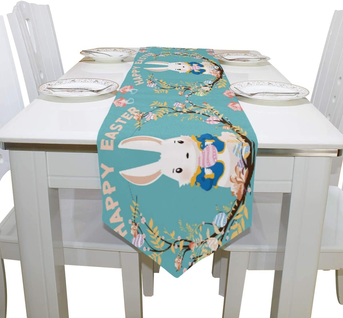 WOOR Double-Sided Easter Bunny Day Egg Rabbit Table Runner 13 x 70 Inches Long,Table Cloth Runner for Wedding Party Holiday Kitchen Dining Home Everyday Decor