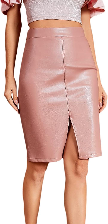 Milumia Women Elegant Faux Leather Slit Pencil Skirt Work Office Solid Short Skirt
