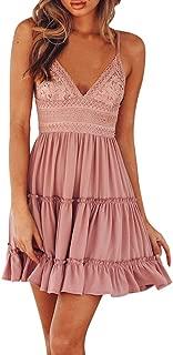 Women Summer Backless Dress Sexy Sling Bowknot Lace Stitching White Evening Party Beach Sundress Mini Dress Skirt