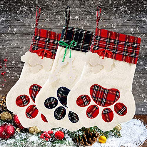 "Christmas Stocking 18""x11"" Tree Hanging Decorations Set with Paw Santa's Toys Stockings Personalized Gift Large Paw Ornaments Keepsake Stocking for Kids Cats Dogs (3 Pack)"