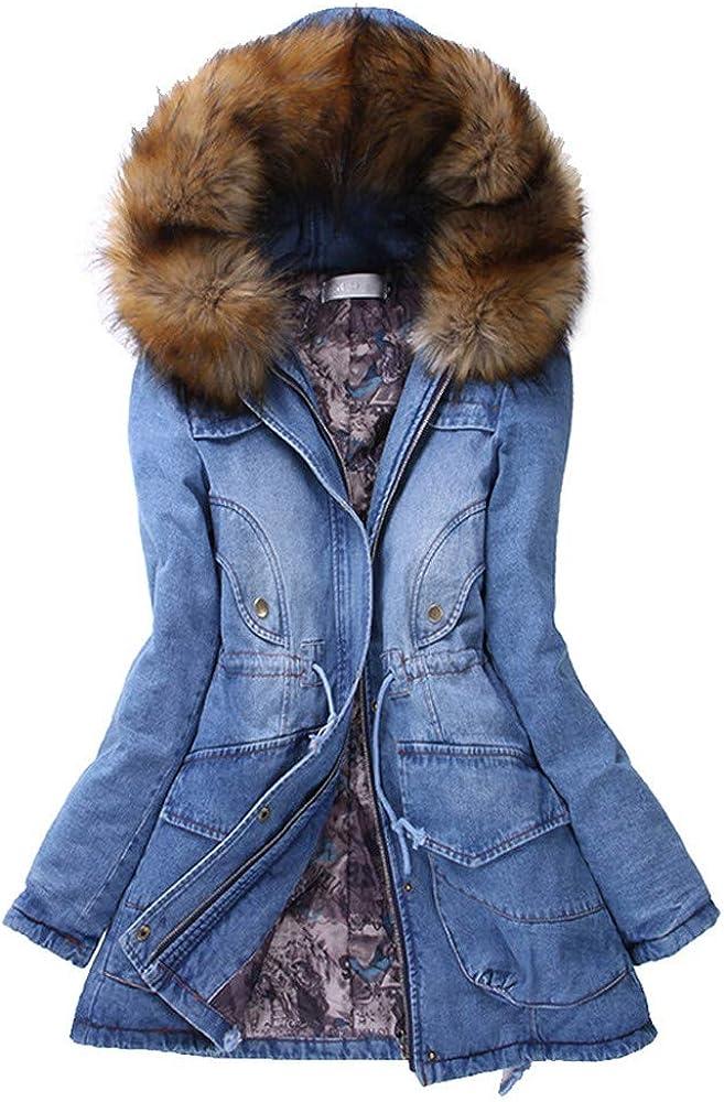 Eduavar Clothing Clearance Womens Ladies Coats Casual Long Warm Winter Denim Jacket Fur Collar Hooded Slim Jean Coats