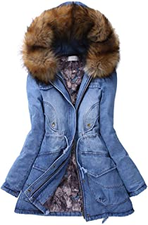 Windproof Jacket Womens Fur Collar Hooded Slim Long Warm Winter Jacket Jean Denim Coats Parka Overcoat