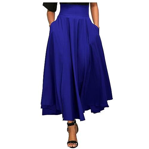 9e371e4968 Aumir Women Casual High Waist Front Slit Belted Swing Pleated Long Maxi  Skirt