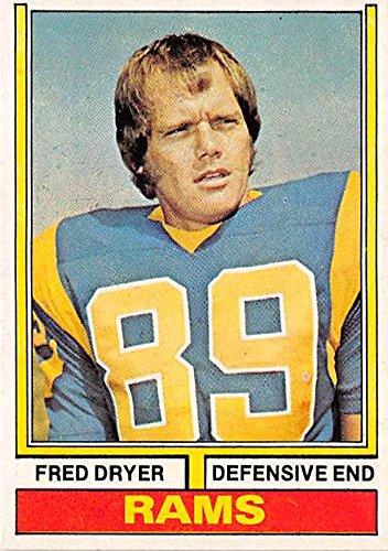 Fred Dryer football card (Los Angeles Rams Hunter TV Star) 1974 Topps #471