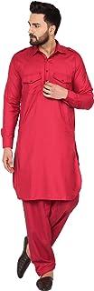 SKAVIJ Men's Tunic Cotton Pathani Kurta Pajama Set