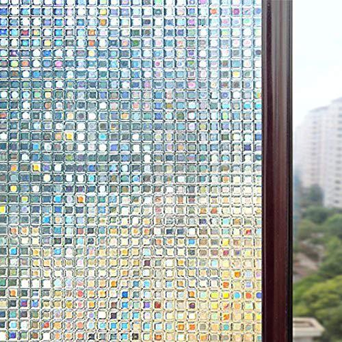 RaiFu窓用フィルム目隠しシート曇り3Dモザイクウィンドウフィルムプライバシーフィルム装飾フィルム非粘着性熱制御抗UVカットステッカー小さいチェック