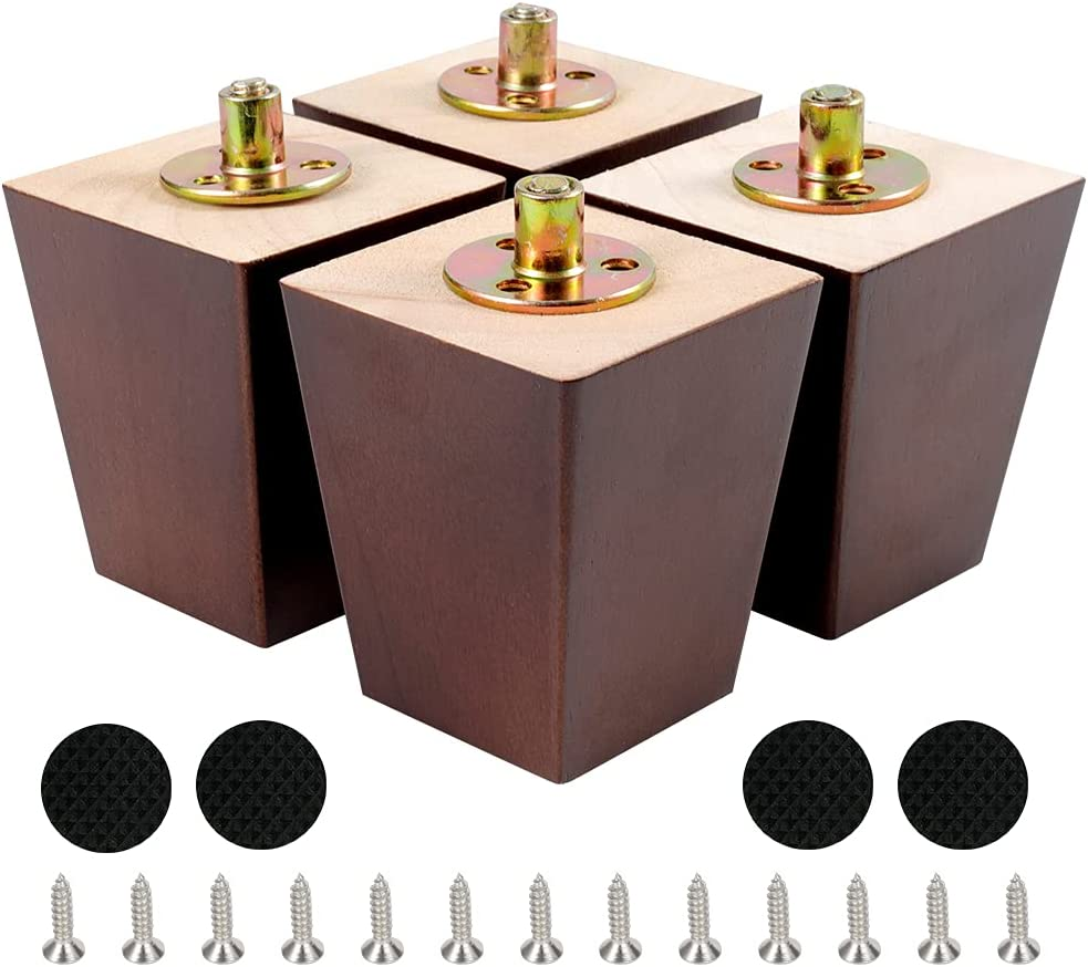Outlet ☆ Ranking TOP10 Free Shipping CtopoGo Wooden Square Furniture Legs Modern 4 Mid-Century of Set