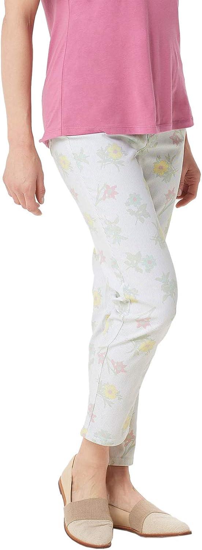 Denim & Co. Studio Womens Stripe Floral Ankle Pants Plus 22 White A352978