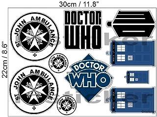 1 Aufkleber Set St. John Ambulance Dr Who Tardis Phone Box Ship Aufkleber Sticker / Plus Schlüsselringanhänger aus Kokosnuss Schale / Auto Motorrad Laptop Doctor Who Science Fiction Kult UK Bad Wolf
