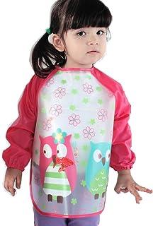 Frbelle® Tablier Blouse de Peinture Etanche Anti-Usure Manches Longues pour Enfant Fille Garçon 1 2 3 4 5 ans