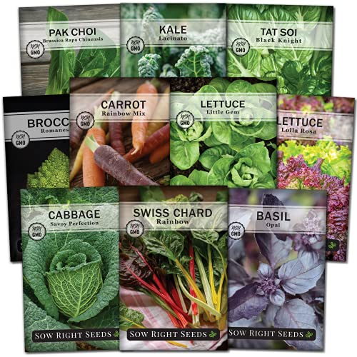Sow Right Seeds - Front Yard Vegetable Seed Collection - Cabbage, Basil, Carrot,...