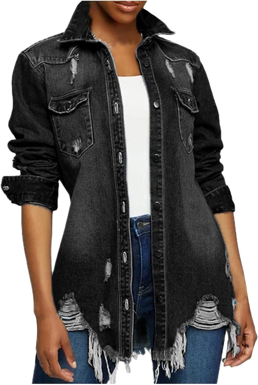 Distressed Denim Jacket for Women Oversized Street Ripped Long Sleeve Slim Long Jean Jackets