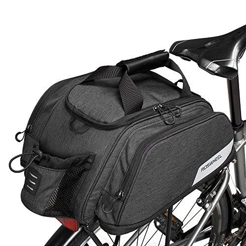 WOTOW Fahrrad Kofferraum Tasche, Fahrrad Pannier Sitz Tasche Radfahren Rücksitz Tote Bag Bike Rear Rack Flaschenhalter Wasserdicht 12L Große Kapazität Tasche erweiterbar für Outdoor-Reiten …